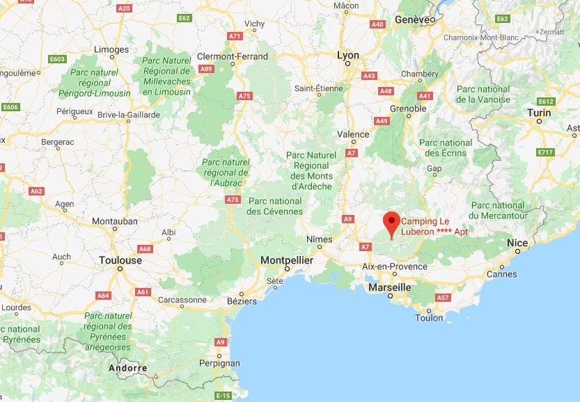 Camping Le Luberon : Carte Camping Luberon